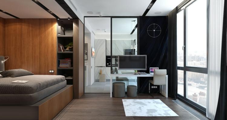 appartements espace chambres styles murs bois