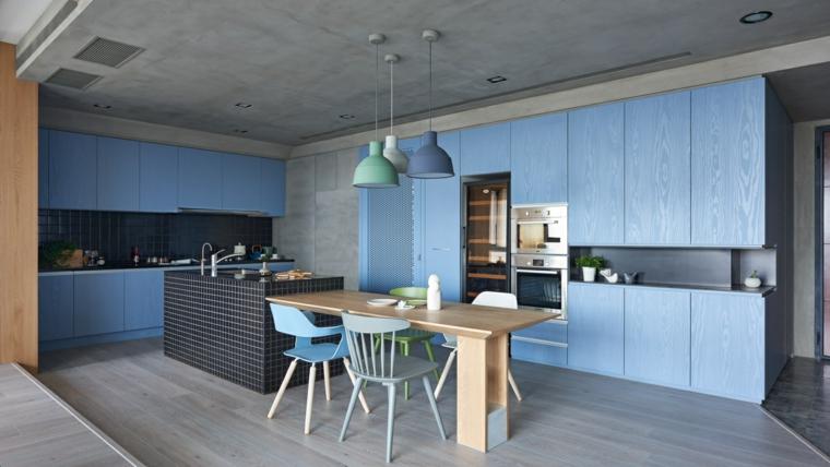 belle conception de cuisine bleue