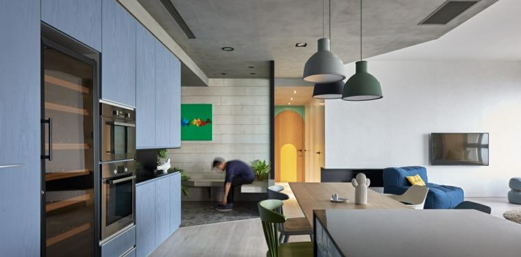 conception originale de cuisine en bois bleu