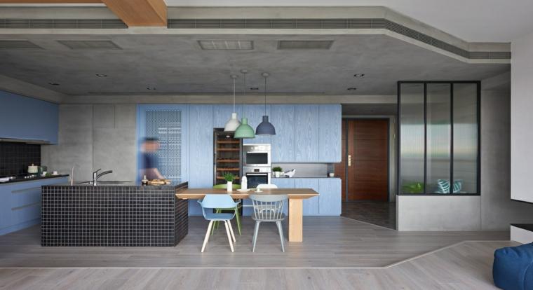 conception de cuisine moderne bleue originale