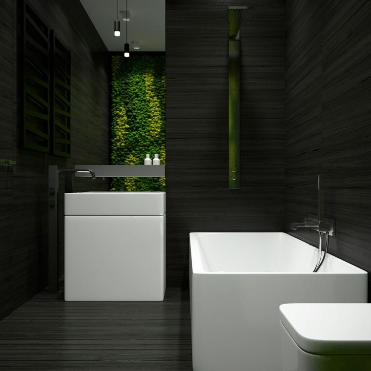 lumières vertes de baignoire design de couleur blanche