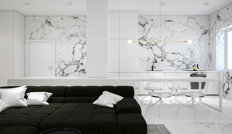 salles à manger murs en marbre concepts coussins
