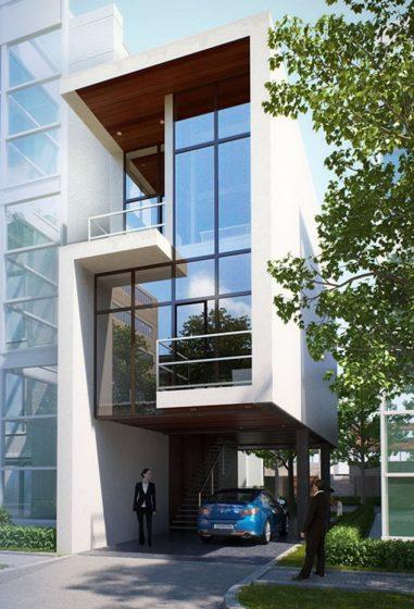 Façade de maison moderne de trois étages étroite