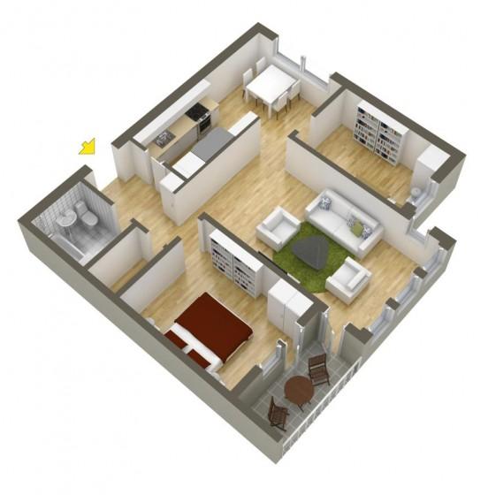Plan petit appartement de forme carrée