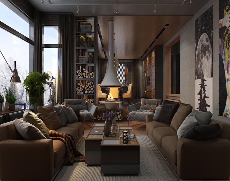 salon de maisons de luxe modernes