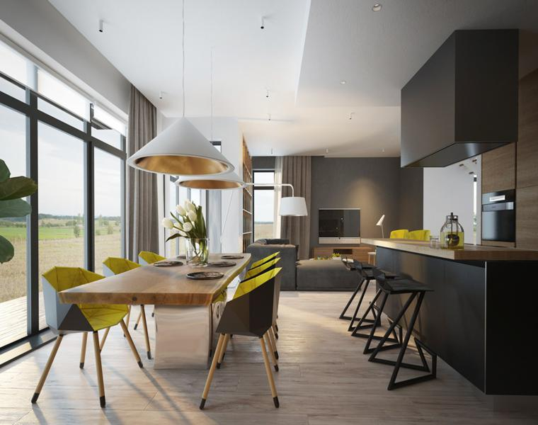 salle à manger formes de cuisine moderne