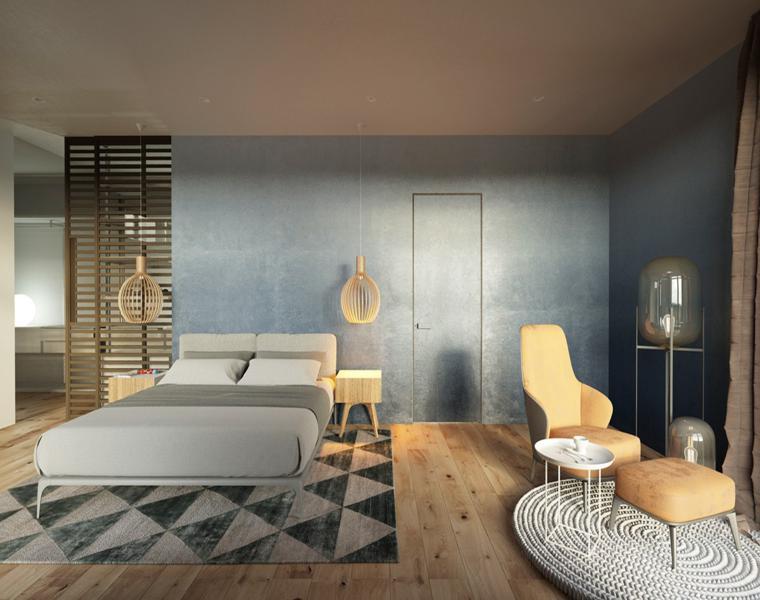 chambre à coucher moderne couleurs douces