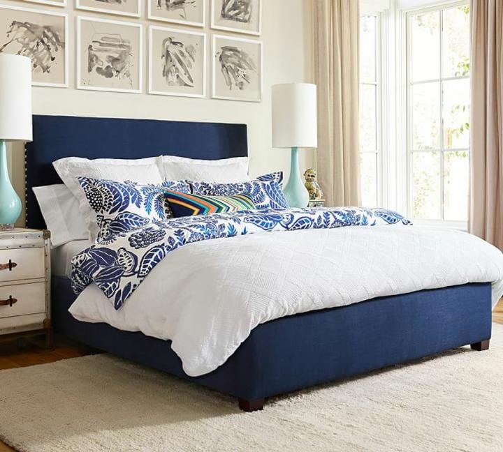 chambre à coucher moderne idées de lit bleu