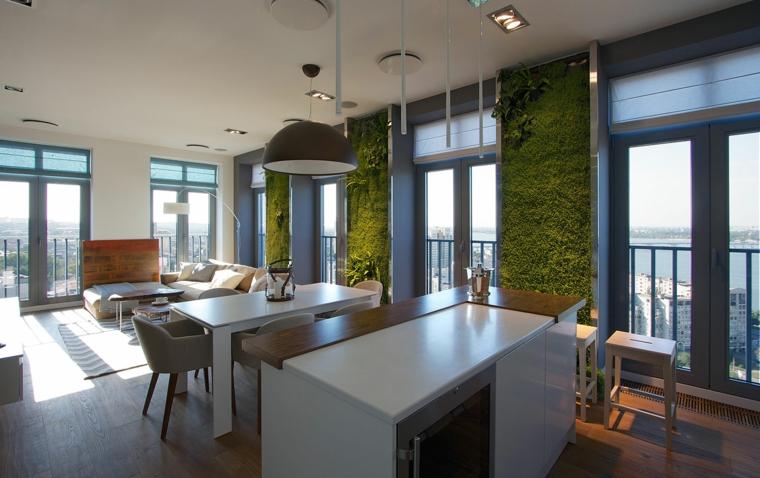 salle à manger cuisine moderne murs verts