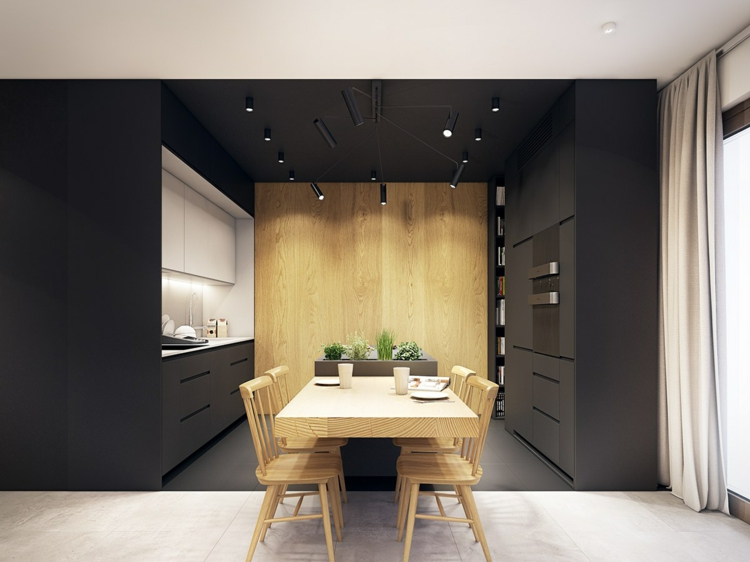 rideaux d'espaces de cuisines de couleur turquoise