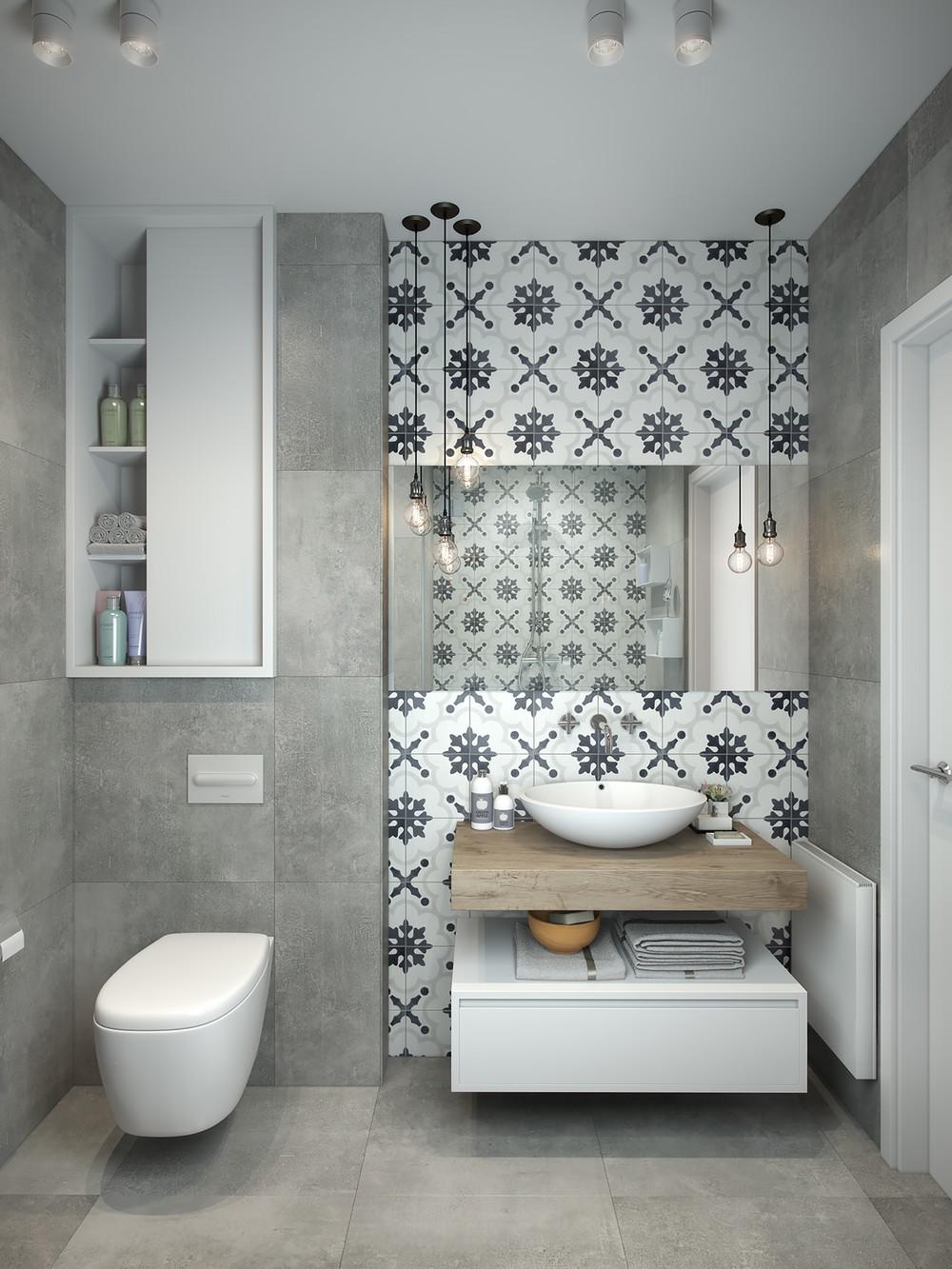 carreaux de salle de bain motifs audacieux