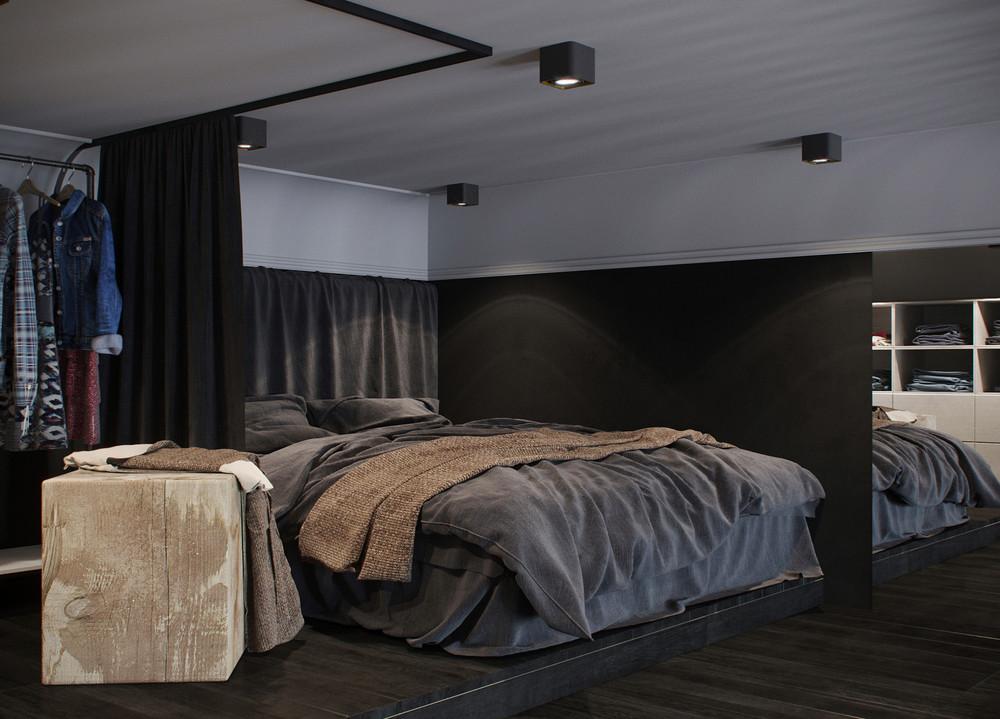 conception de la chambre aux tons gris