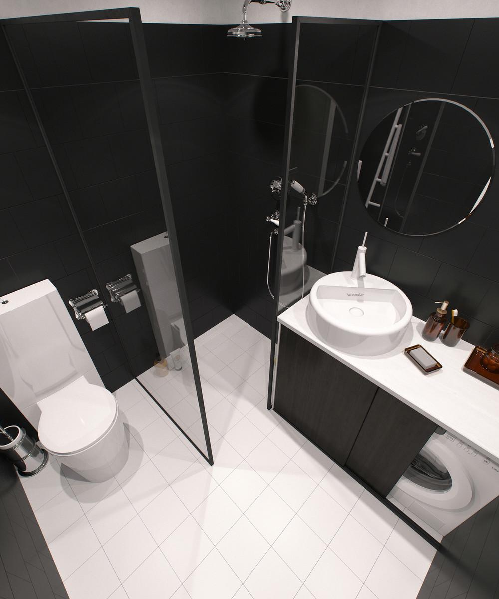 salle de bain tons foncés