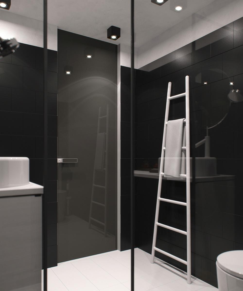 conception de petite salle de bain sombre