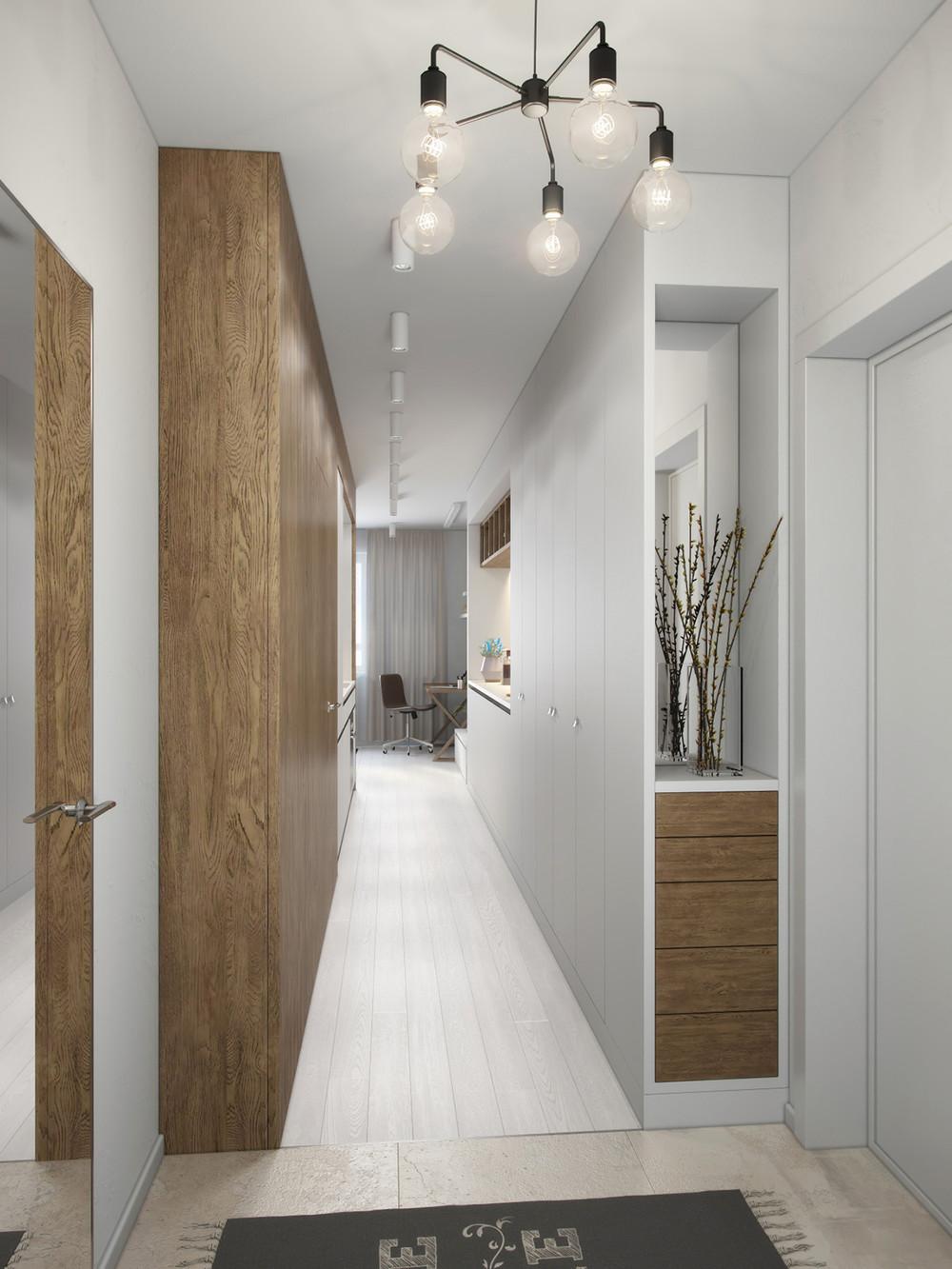 couloir hall design bois
