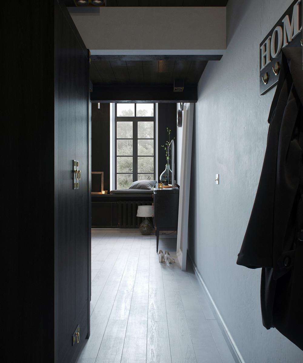 conception de couloir loft sombre