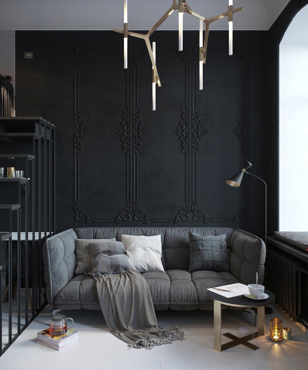 canapé de salon sombre
