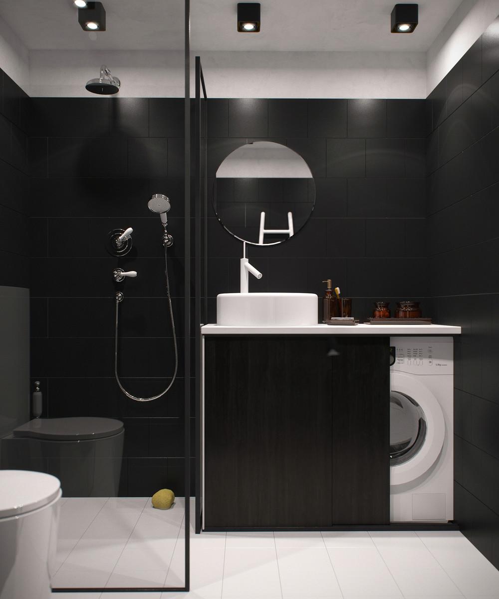 petite salle de bain moderne et sombre