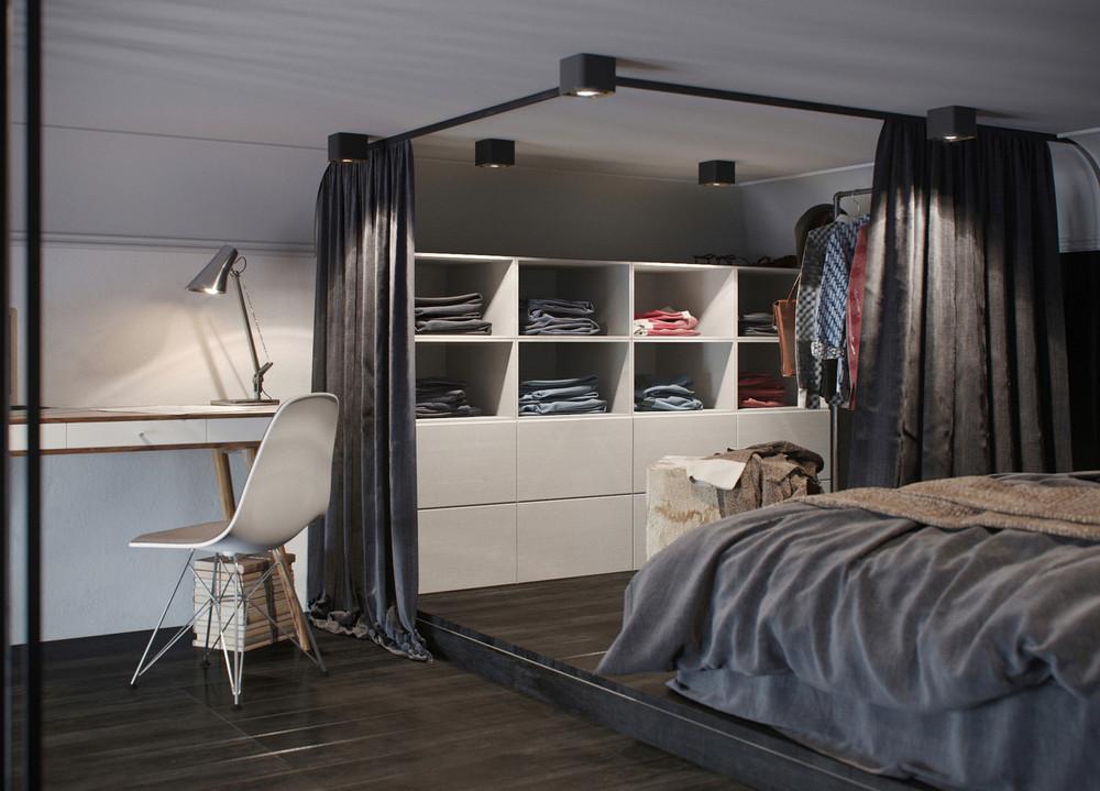 chambre d'appartement sombre