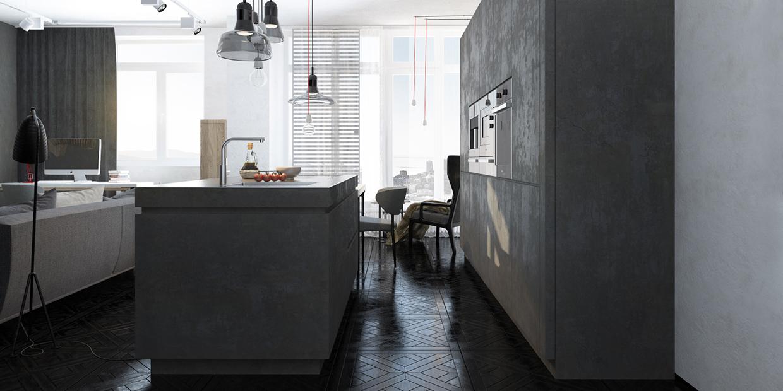 ciment de meubles de cuisine moderne
