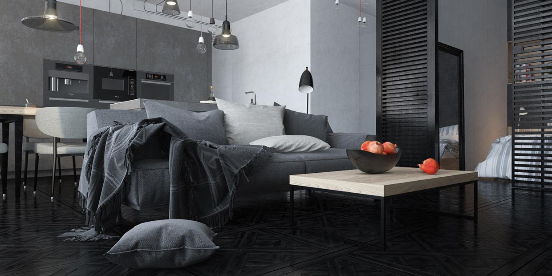 conception de plancher de loft gris