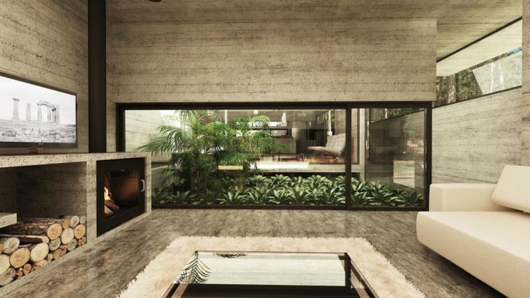 Idées de cheminée en béton pour mur de maison forestière