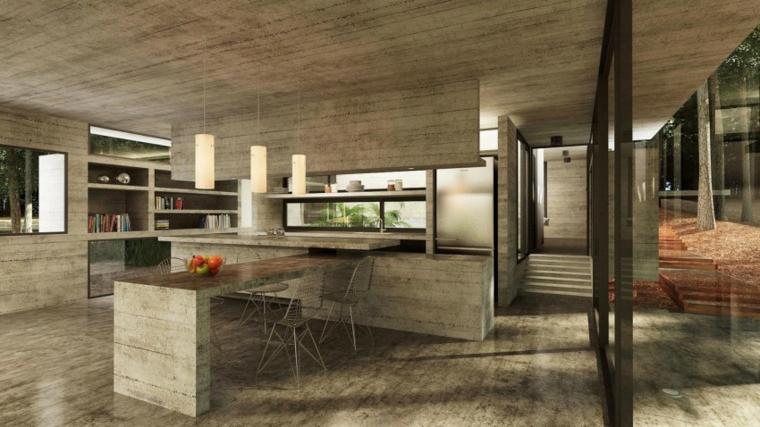 maison bois cuisine bar mur idee de beton