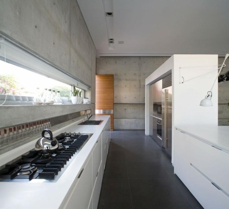 effets optiques mur de béton cuisine idées de meubles blancs