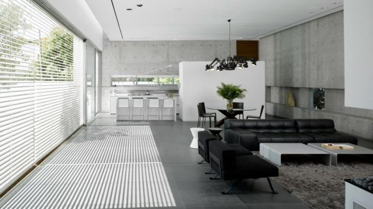 Idées de salon de meubles en cuir noir de Tel Aviv House