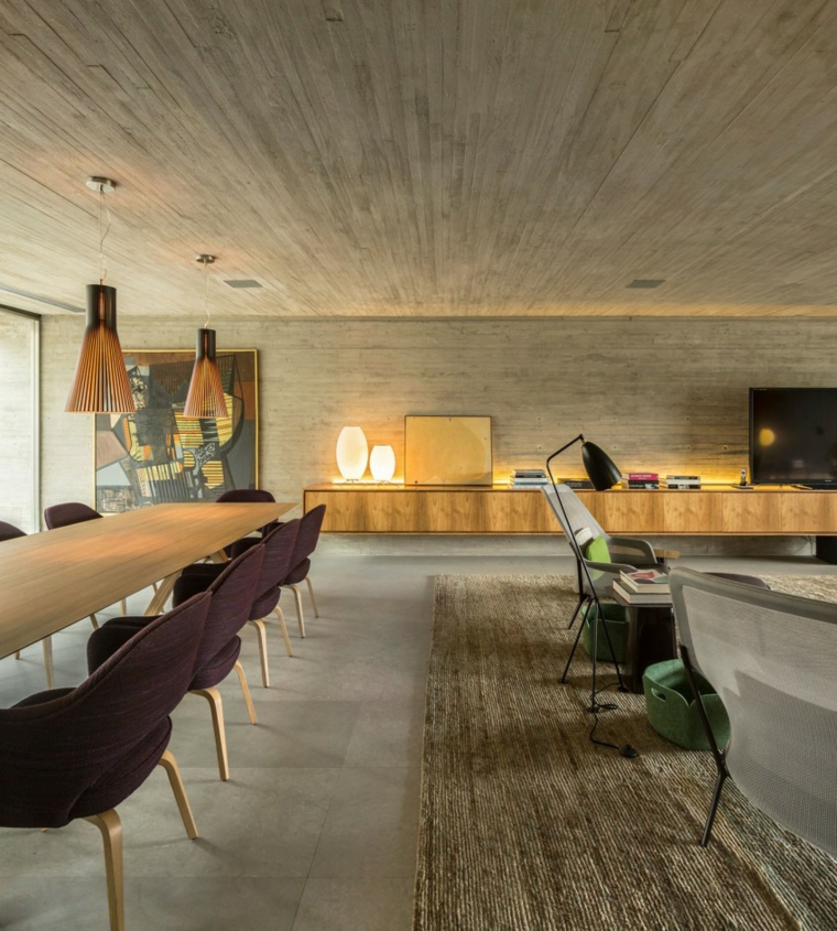 effets optiques mur de béton salle à manger idées d'espaces ouverts