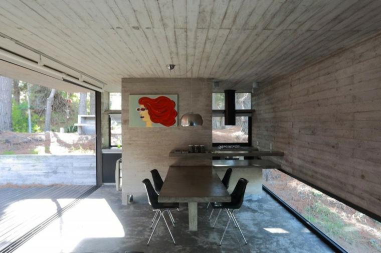 idées de table de salle à manger murale en béton à effets optiques