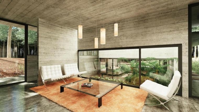 mur de béton à effet optique idées de salon design moderne