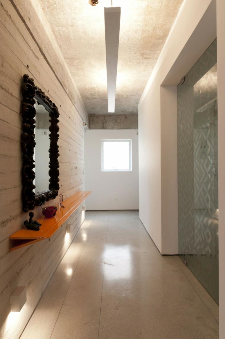 Idées de miroir de couloir de mur en béton à effet optique
