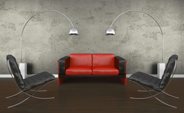 Effet optique idées de mur de béton de salon rustique