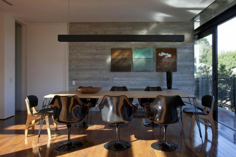 mur de béton maison salle à manger idées de design moderne