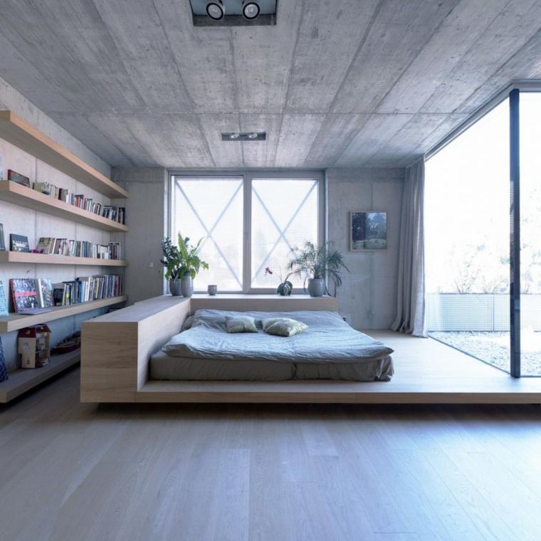 mur en béton maison lit bois idées