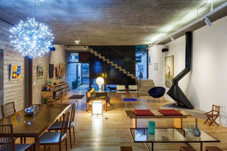 mur de béton maison design ouvert idées grand espace
