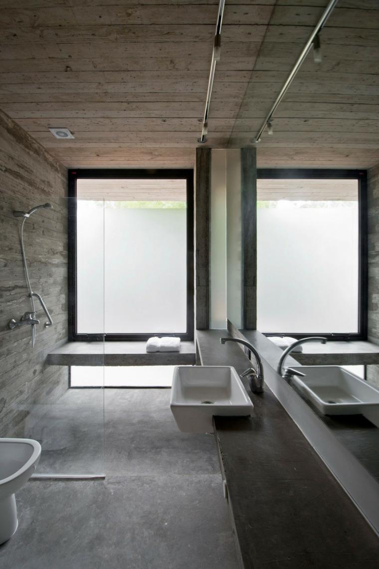 mur de béton salle de bain maison idées étroites