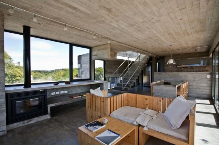 meubles de maison mur en béton idées de bois