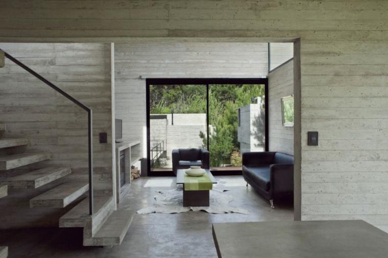 mur de béton maison meubles de salon idées en cuir