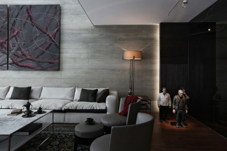 mur de béton maison salon idées de design originales