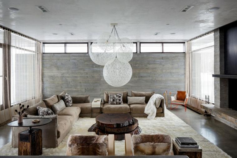 mur de béton maison salon idées confortables