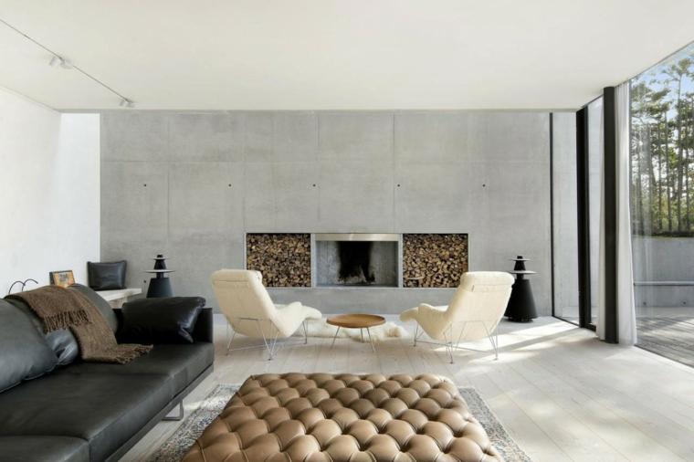 mur de béton maison salon idées de cheminée moderne