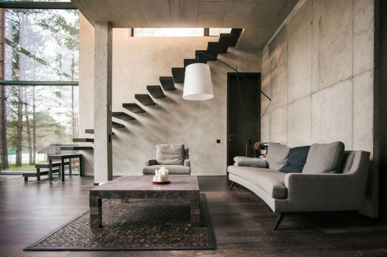mur de béton maison salon idées de canapé gris