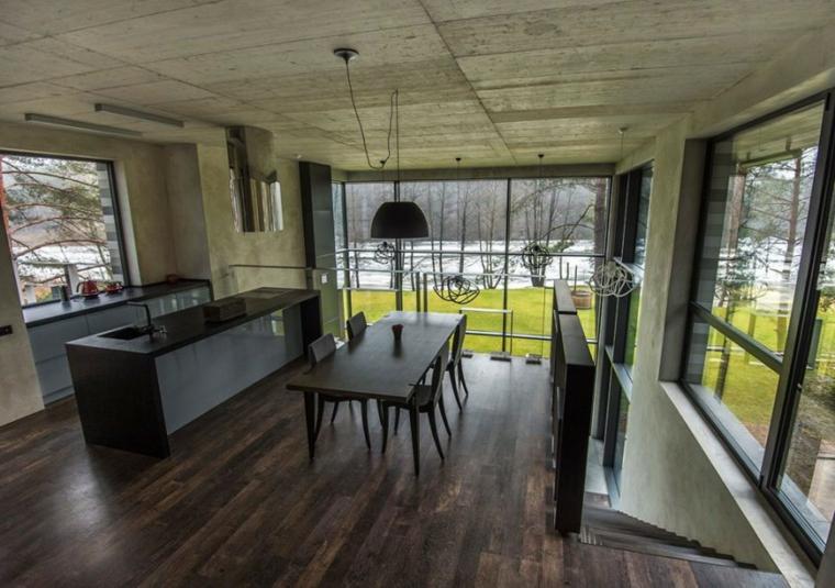 mur en béton maison plancher de bois idées de cuisine