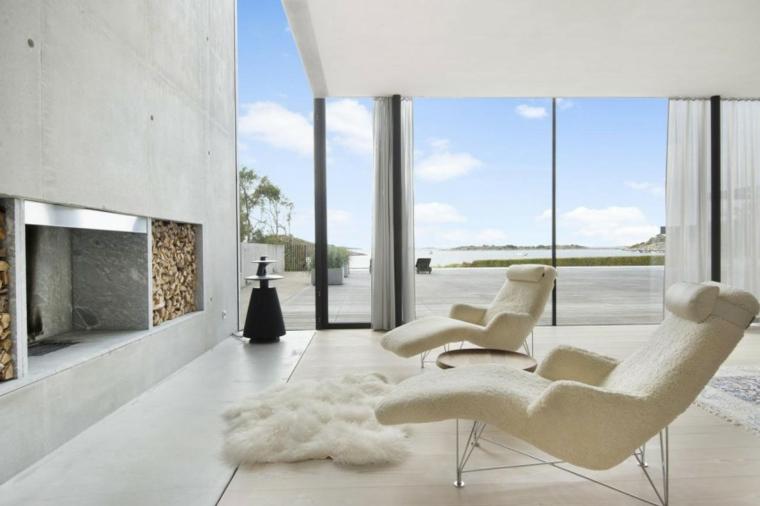 Idées de fauteuils blancs pour maison de mur en béton