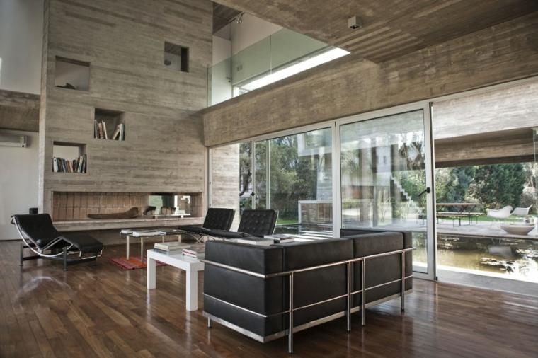 mur maison en béton idées de plafond haut