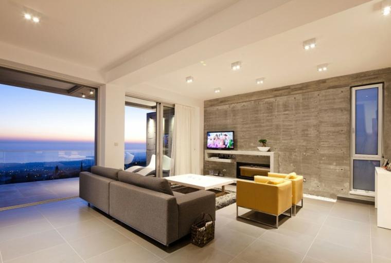 Mur de béton de la résidence design salon idées simples