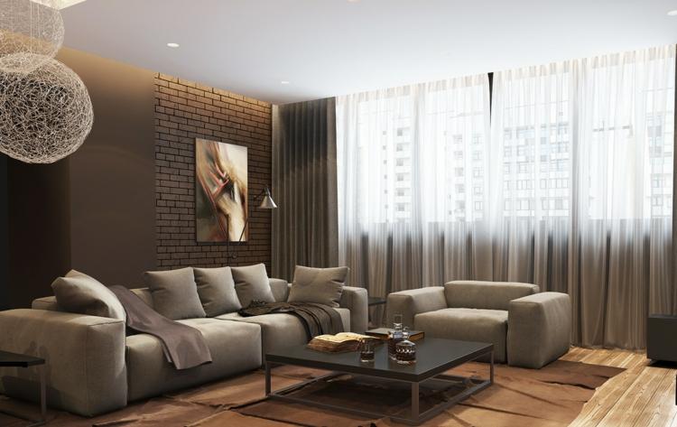 éclairage design salons canapés briques