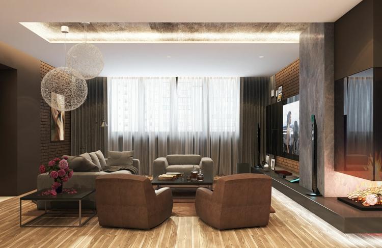 luminaires design salons cheminées bois décoré